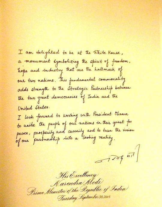 NarendraModi's note in White House Visitors book