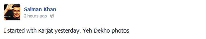 Salman Khan FB status