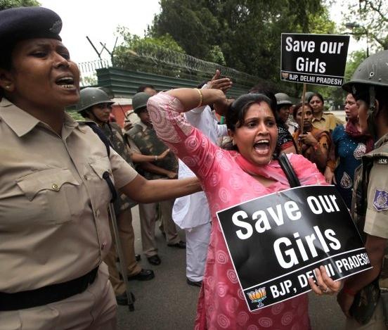 Woman protest against rape