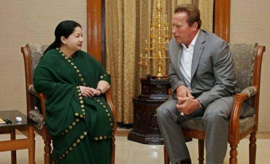 Arnold Schwarzenegger Meets Jaya