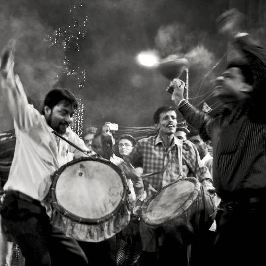 Dancing during Durga Puja