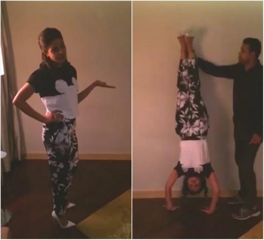 Priyanka Chopra performs handstands