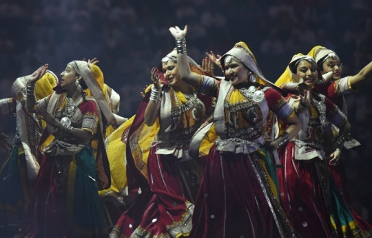 Dancers perform before the arrival of Narendra Modi at Madison Square Garden