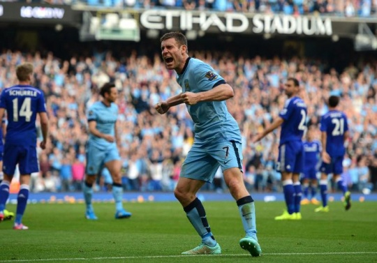 Manchester City's midfielder James Milner celebrates after Frank Lampard scores their equalizing goal against Chelsea