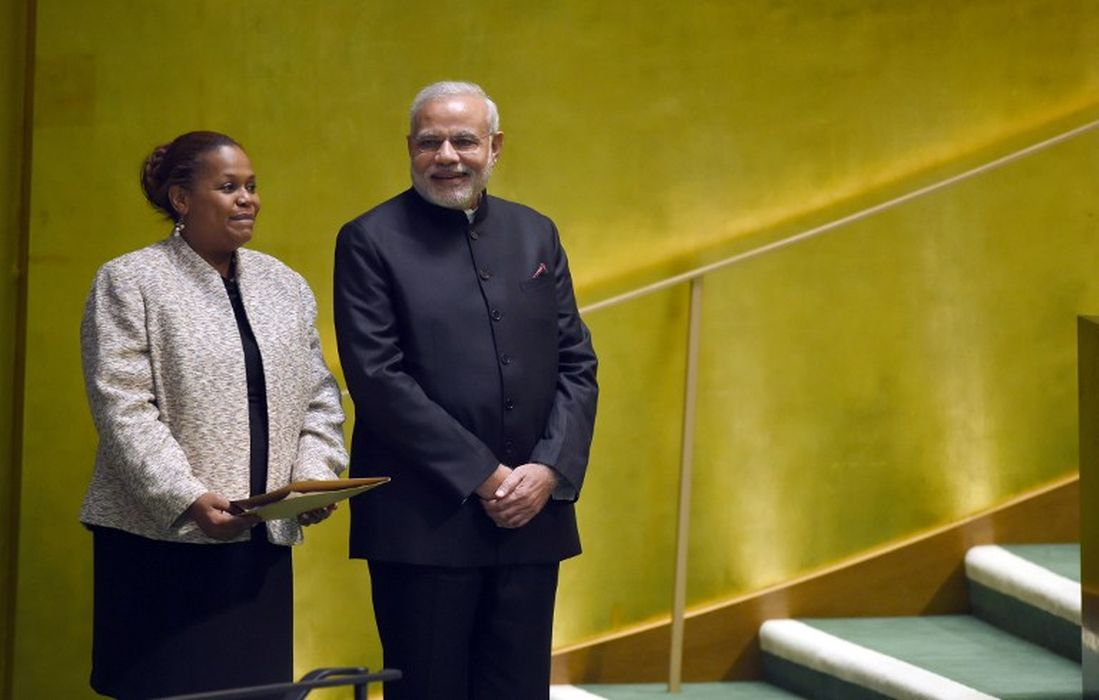 Narendra Modi arrives to speak at the UN General Assembly