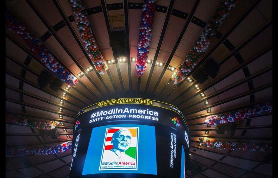 screen at Madison Square Garden before Modi's speech