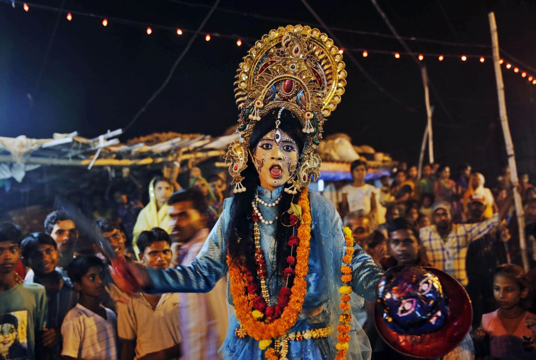 A girl dressed as Kali