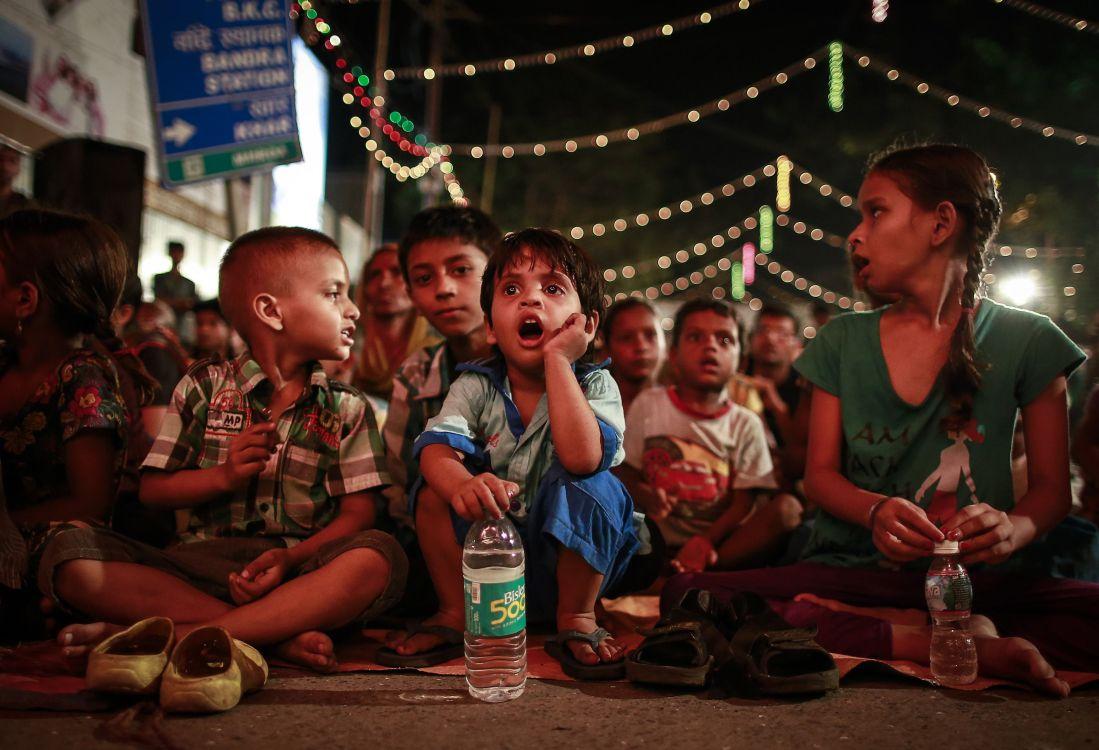 Children watching Ramlila in Mumbai