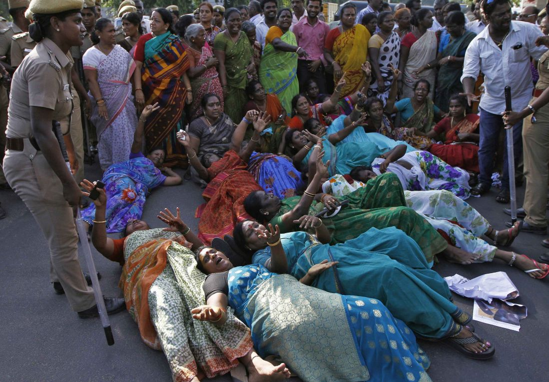 Supporters of J. Jayalalitha protest against her court verdict