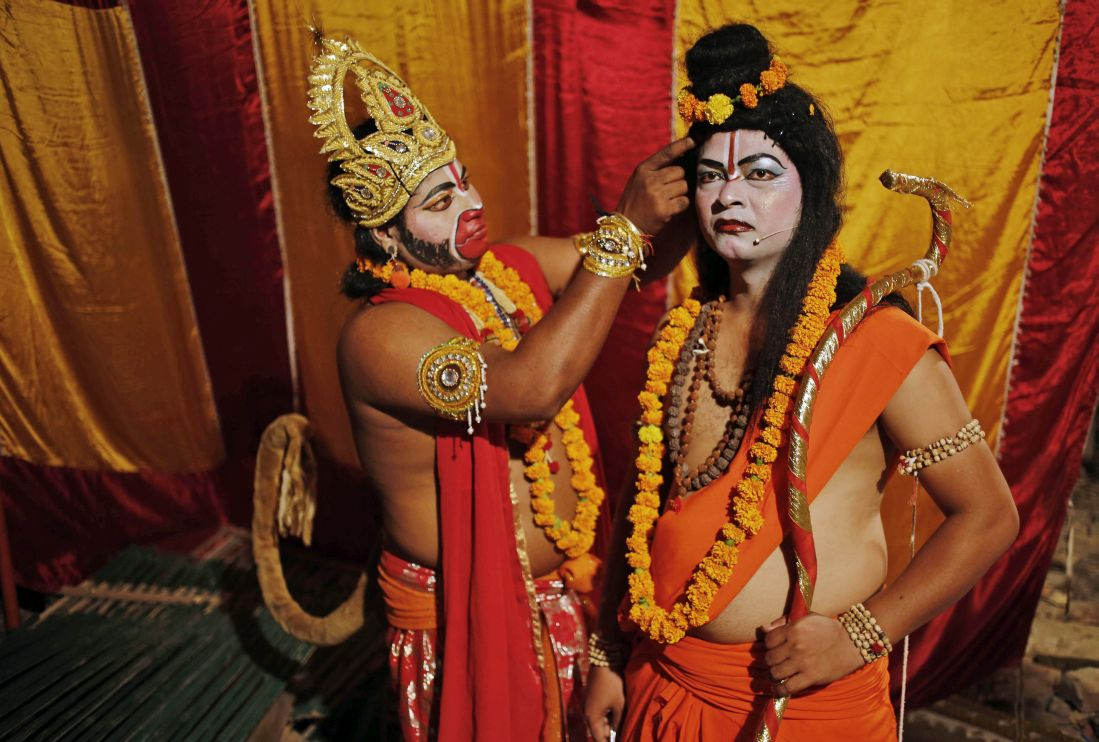 Artists prepare themselves before going on stage for Ramleela