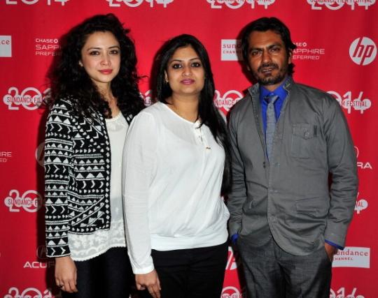 Geetanjali Thapa, director Geethu Mohandas and Nawazuddin Siddique at the Sundance Film Festival