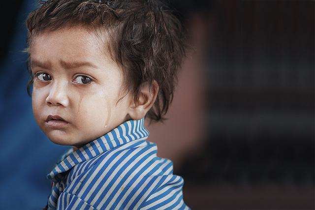 Delhi boy crying