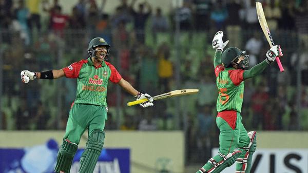 Soumya Sarkar and Mushfiqur Rahim celebrate after hitting winning runs