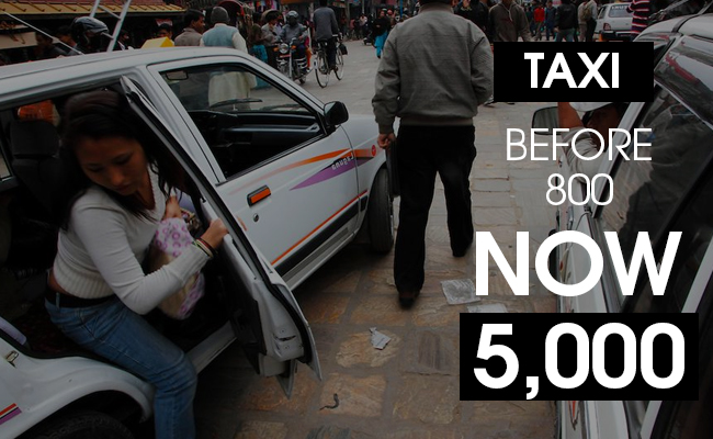 Taxi Ride Costs 6 times more in Nepal