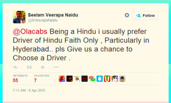 tweet ola hindu driver