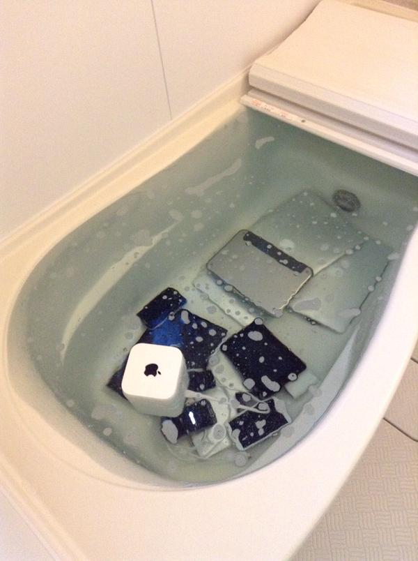 apple products drowned in bathtub