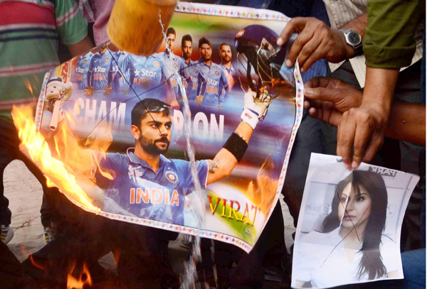 cricket fans protesting after India's World Cup exit