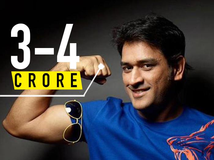 Mahendra Singh dhoni 3- 4 crore per day
