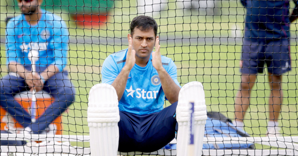 Dhoni at the nets