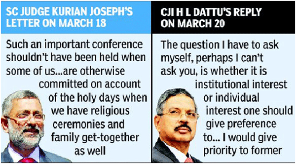 Chief Justice's reply to Justice Joseph