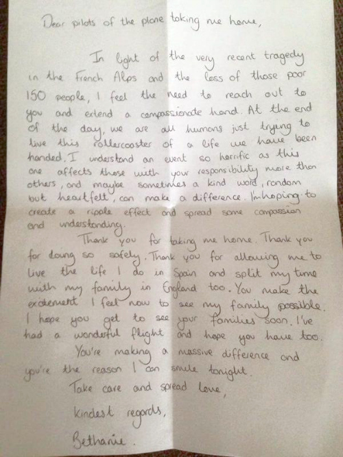 Letter received by British pilot