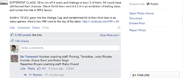 Mumbai Indians FB post