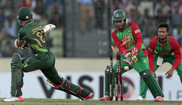 Junaid Khan is bowled