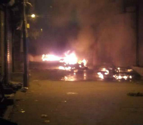 locals vandalized  set fire to vehicles