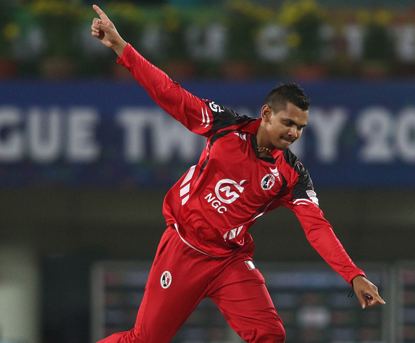 Sunil Narine bowling for Trinidad and Tobago