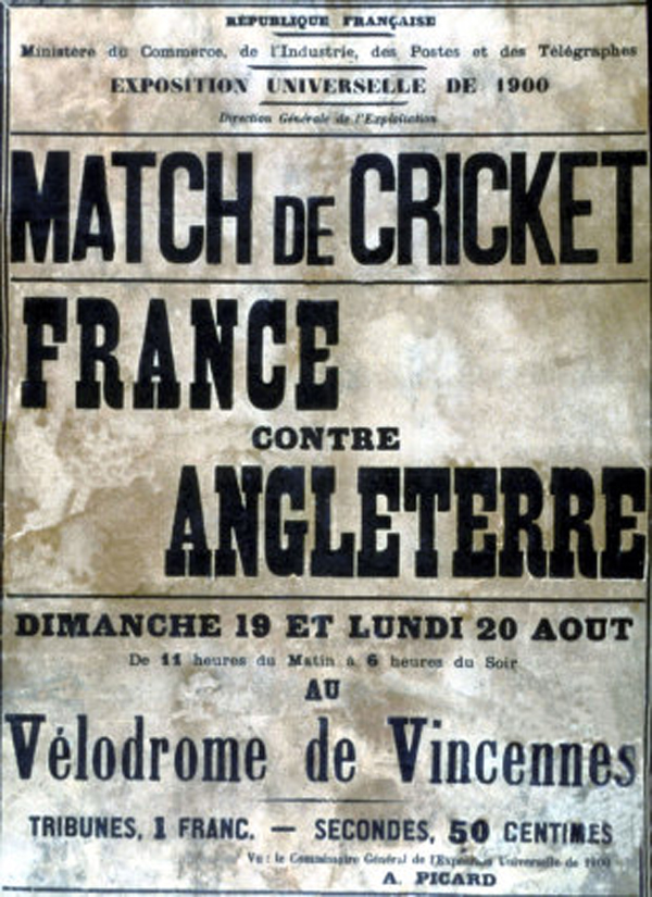 A poster promoting the 1900 cricket game