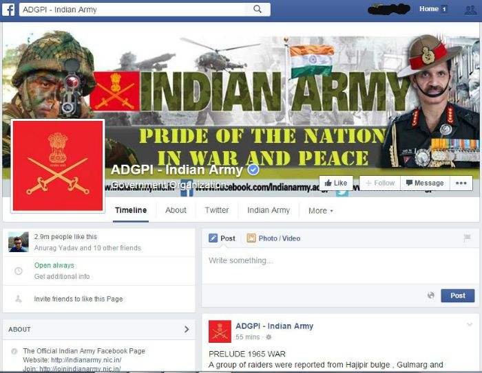 Indian army page on Facebook
