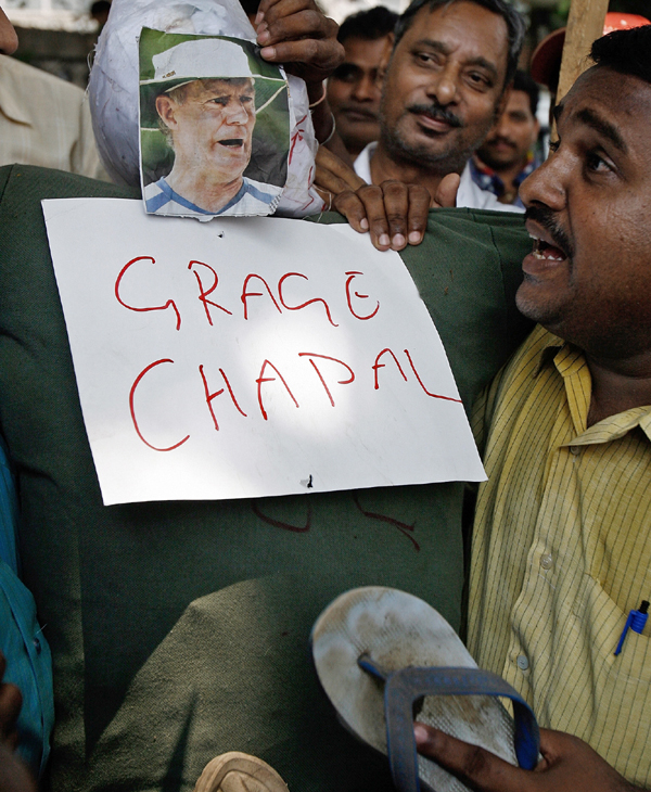 People in protest over Greg Chappell