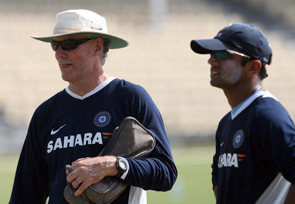 Greg Chappell with Rahul Dravid