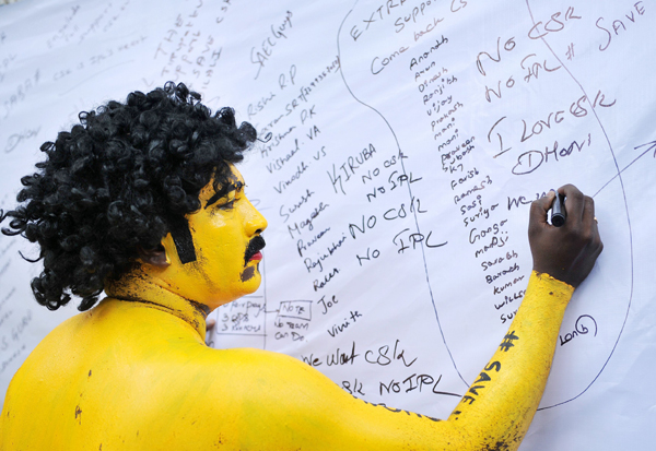 CSK supporter writing on the petition