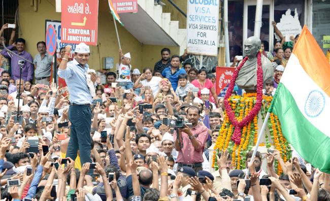 Hardik Patel in a Gujarat rally