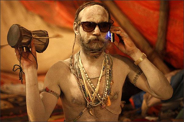 Sadhu with cellphone