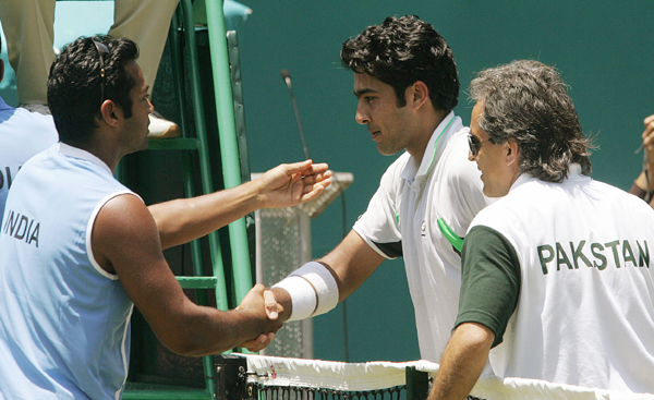 Leander Paes greets Aisam Qureshi of Pakistan during a Davis Cup match