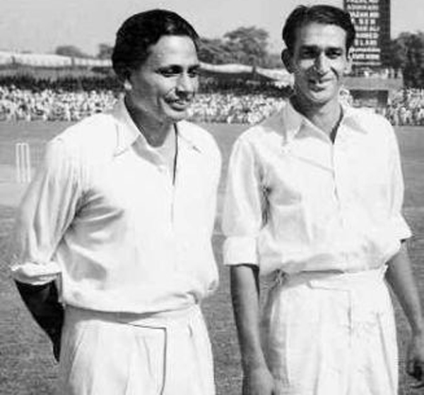 Lala Amarnath (left) with Pakistan captain AH Karder