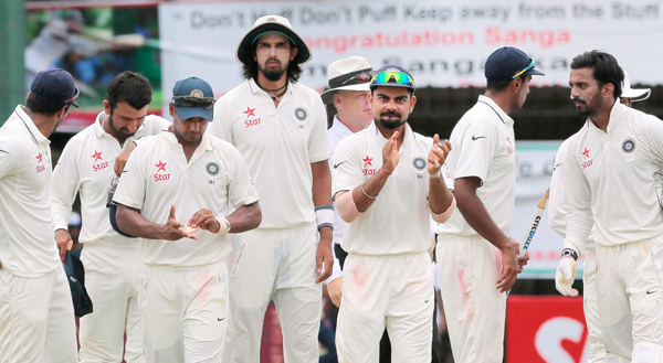 Virat Kohli leads Indian team after the win at P Sara Oval
