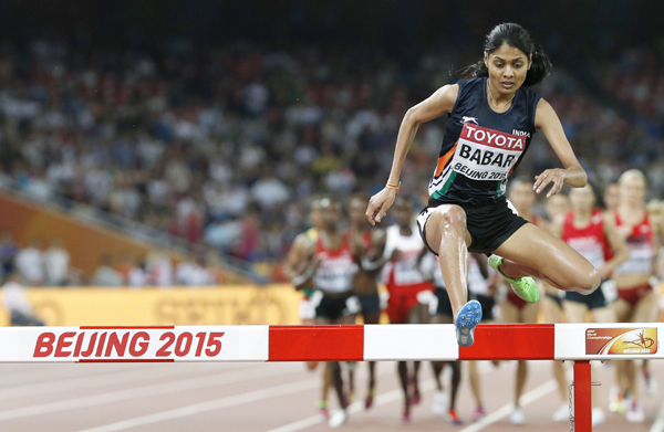 Lalita Babar in her 3000m steeplechase event