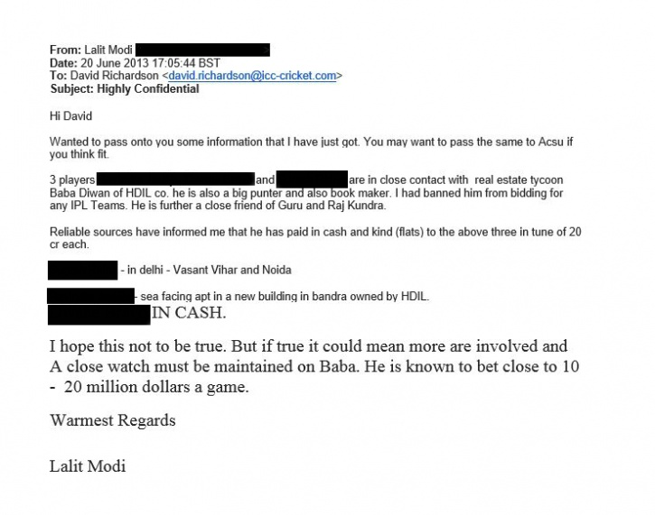 Lalit Modi letter to the ICC