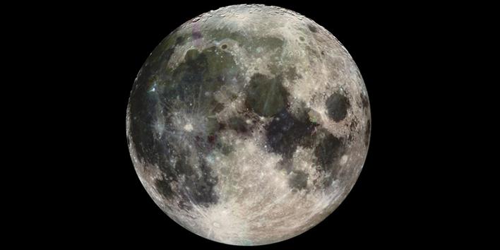Moon, glowing neon gas