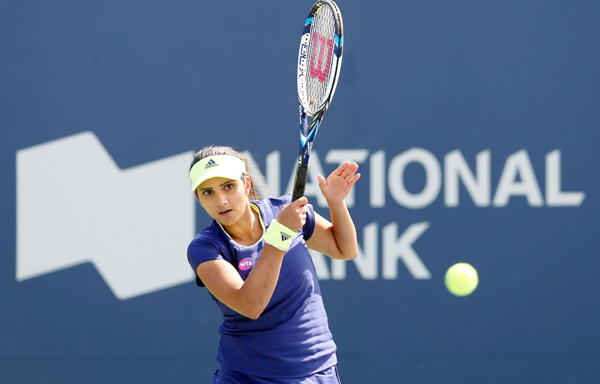 Sania playing in the Rogers Cup