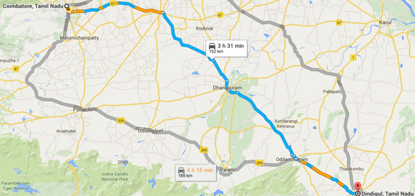 Map of the three hour drive from Dindigul to Coimbatore