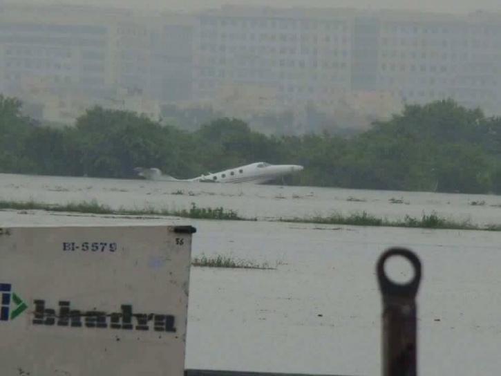 Chennai Airport Planes Getting Swept Away