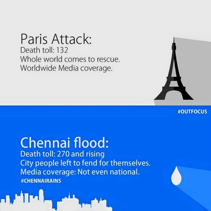 This Post Comparing Media Coverage Of Paris Attacks To Chennai Floods Makes A Valid Point