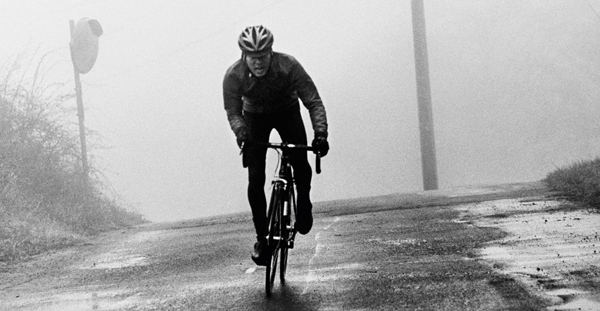 Cyclist out in the cold