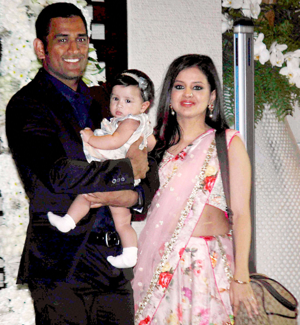 MS Dhoni with wife Sakshi and baby Ziva