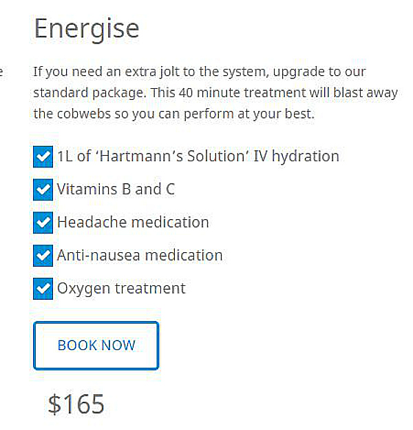 energise package hangover clinic