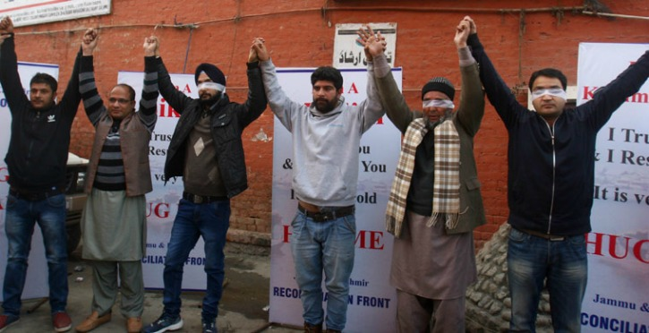 Blindfolded Kashmiri Pandit, Muslim And Sikh Ask For A Hugs To Promote Harmony